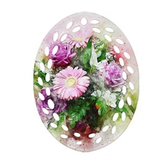 Flowers Roses Bouquet Art Nature Oval Filigree Ornament (two Sides)