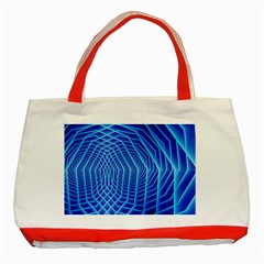 Blue Background Light Glow Abstract Art Classic Tote Bag (red)
