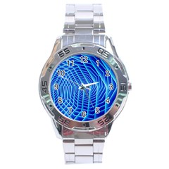 Blue Background Light Glow Abstract Art Stainless Steel Analogue Watch