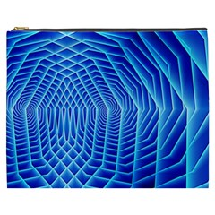 Blue Background Light Glow Abstract Art Cosmetic Bag (xxxl)