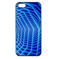 Blue Background Light Glow Abstract Art Apple Iphone 5 Seamless Case (black)