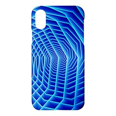Blue Background Light Glow Abstract Art Apple Iphone X Hardshell Case by Nexatart