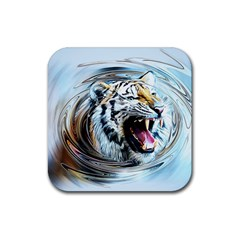 Tiger Animal Art Swirl Decorative Rubber Square Coaster (4 Pack)