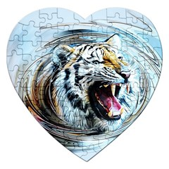 Tiger Animal Art Swirl Decorative Jigsaw Puzzle (heart) by Nexatart
