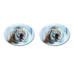 Tiger Animal Art Swirl Decorative Cufflinks (oval)