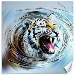 Tiger Animal Art Swirl Decorative Canvas 12  X 12   by Nexatart
