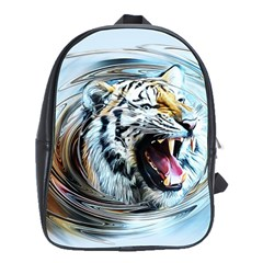 Tiger Animal Art Swirl Decorative School Bag (large)