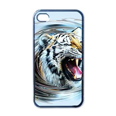 Tiger Animal Art Swirl Decorative Apple Iphone 4 Case (black) by Nexatart