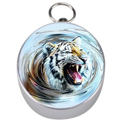 Tiger Animal Art Swirl Decorative Silver Compasses by Nexatart