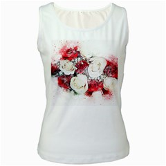 Flowers Roses Bouquet Art Nature Women s White Tank Top