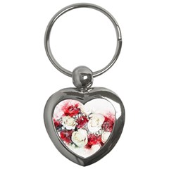 Flowers Roses Bouquet Art Nature Key Chains (heart)  by Nexatart