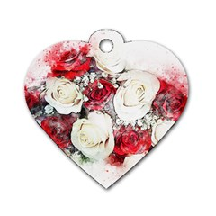 Flowers Roses Bouquet Art Nature Dog Tag Heart (one Side)