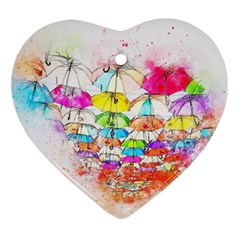 Umbrella Art Abstract Watercolor Ornament (heart)