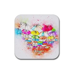 Umbrella Art Abstract Watercolor Rubber Square Coaster (4 Pack)  by Nexatart