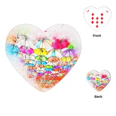 Umbrella Art Abstract Watercolor Playing Cards (heart)
