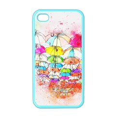 Umbrella Art Abstract Watercolor Apple Iphone 4 Case (color)