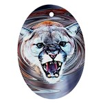 Cougar Animal Art Swirl Decorative Ornament (Oval) Front