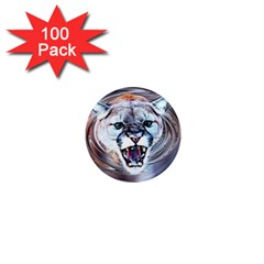 Cougar Animal Art Swirl Decorative 1  Mini Magnets (100 Pack)