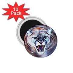Cougar Animal Art Swirl Decorative 1 75  Magnets (10 Pack)