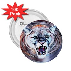Cougar Animal Art Swirl Decorative 2 25  Buttons (100 Pack)
