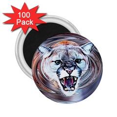 Cougar Animal Art Swirl Decorative 2 25  Magnets (100 Pack)  by Nexatart
