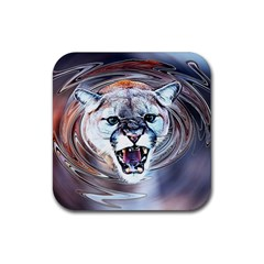 Cougar Animal Art Swirl Decorative Rubber Coaster (square)  by Nexatart