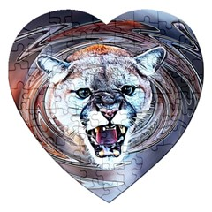 Cougar Animal Art Swirl Decorative Jigsaw Puzzle (heart) by Nexatart