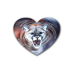 Cougar Animal Art Swirl Decorative Heart Coaster (4 Pack)