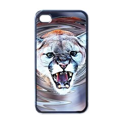 Cougar Animal Art Swirl Decorative Apple Iphone 4 Case (black) by Nexatart