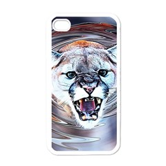Cougar Animal Art Swirl Decorative Apple Iphone 4 Case (white) by Nexatart