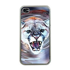 Cougar Animal Art Swirl Decorative Apple Iphone 4 Case (clear) by Nexatart