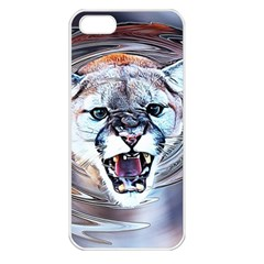 Cougar Animal Art Swirl Decorative Apple Iphone 5 Seamless Case (white) by Nexatart