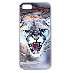 Cougar Animal Art Swirl Decorative Apple Seamless Iphone 5 Case (clear) by Nexatart