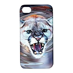 Cougar Animal Art Swirl Decorative Apple Iphone 4/4s Hardshell Case With Stand by Nexatart