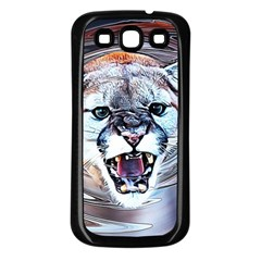 Cougar Animal Art Swirl Decorative Samsung Galaxy S3 Back Case (black) by Nexatart