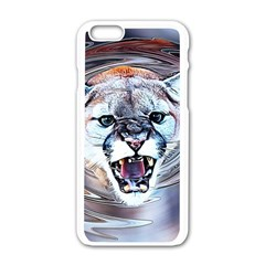 Cougar Animal Art Swirl Decorative Apple Iphone 6/6s White Enamel Case by Nexatart