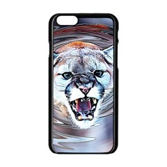 Cougar Animal Art Swirl Decorative Apple Iphone 6/6s Black Enamel Case by Nexatart