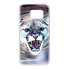 Cougar Animal Art Swirl Decorative Samsung Galaxy S7 White Seamless Case by Nexatart