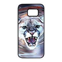 Cougar Animal Art Swirl Decorative Samsung Galaxy S7 Edge Black Seamless Case by Nexatart