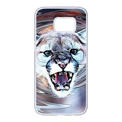 Cougar Animal Art Swirl Decorative Samsung Galaxy S7 Edge White Seamless Case by Nexatart