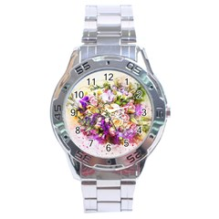 Flowers Bouquet Art Nature Stainless Steel Analogue Watch