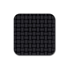 Background Weaving Black Metal Rubber Coaster (square)