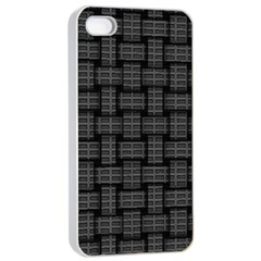 Background Weaving Black Metal Apple Iphone 4/4s Seamless Case (white)