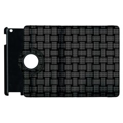 Background Weaving Black Metal Apple Ipad 3/4 Flip 360 Case