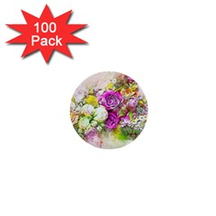 Flowers Bouquet Art Nature 1  Mini Buttons (100 Pack)  by Nexatart