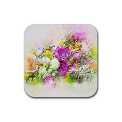 Flowers Bouquet Art Nature Rubber Square Coaster (4 Pack)