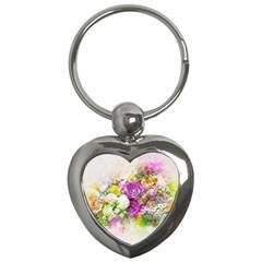 Flowers Bouquet Art Nature Key Chains (heart)  by Nexatart