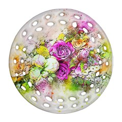 Flowers Bouquet Art Nature Ornament (round Filigree)
