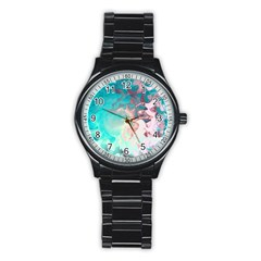 Background Art Abstract Watercolor Stainless Steel Round Watch by Nexatart