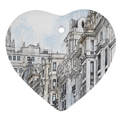 Architecture Building Design Heart Ornament (two Sides)